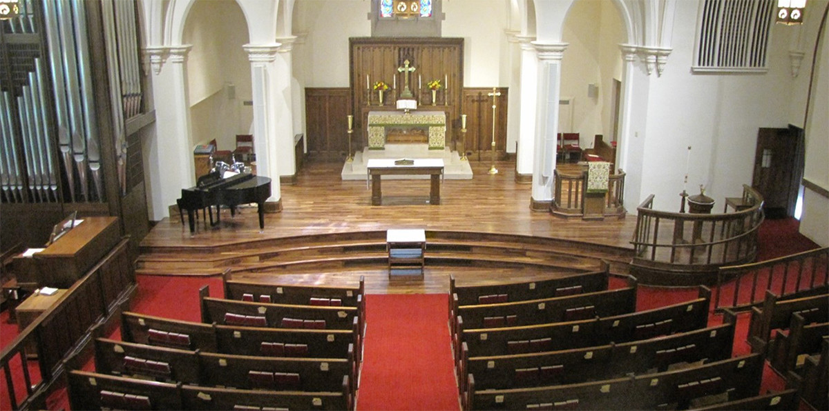 Interior photo taken from the sanctuary balcony